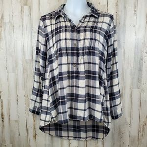 American Eagle Outfitters Womens Popover Top Plaid